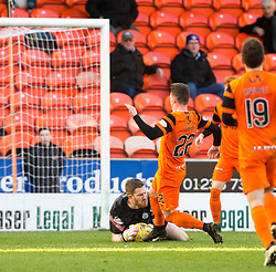 Morton's keeper Derek Gaston saves from Dundee United's Ali Coote. Dundee United 1 v 1 Morton, Scottish Championship game played 25/2/2017 at Tannadice Park.