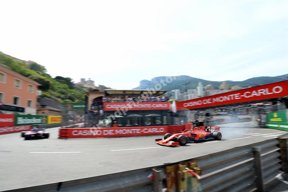 Sebastian Vettel (Ferrari) with smoking tyres during qualifying for the 2019 Monaco Grand Prix. Photo: Grand Prix Photo