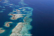 aerial view of southern Belize barrier reef in vicinity of Placencia, Belize, Central America ( Caribbean Sea )