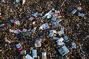 Cigarette packets which have been washed up on Chesil Beach from a cargo container ship accident on Jurassic Coast of Dorset, UK.