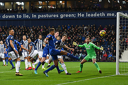 Everton players look-on Everton's Dominic Calvert-Lewin's shot goes wide