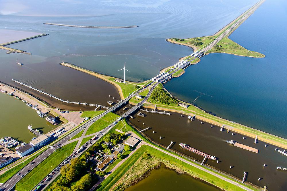 Nederland, Noord-Holland, Den Oever, 07-05-2018; begin Afsluitdijk met Stevinsluizen (spuisluizen, en de schutsluis). Waddenzee boven in beeld.<br /> Beginning Enclosure Dam with Stevin Sluices and lock. Waddenzee (right).<br /> <br /> luchtfoto (toeslag op standard tarieven);<br /> aerial photo (additional fee required);<br /> copyright foto/photo Siebe Swart