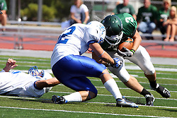 17 September 2011: T.J. Stinde escapes the grasp of Dan Maxwell only to encounter Kevin Glock during an NCAA Division 3 football game between the Aurora Spartans and the Illinois Wesleyan Titans on Wilder Field inside Tucci Stadium in.Bloomington Illinois.