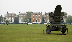 © Licensed to London News Pictures. 02/05/2012. LONDON, UK. A Rapier air defence tracking radar of 16 Regiment Royal Artillery is seen on Blackheath in London today (02/04/12). As part of an exercise testing military procedures and security across London for the 2012 Olympic Games a Rapier Surface to Air Missile System (SAM) has been deployed to Blackheath in South East London. Photo credit: Matt Cetti-Roberts/LNP