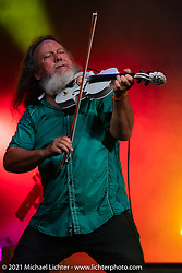 Tim Watson plays his fiddle on the Main Stage in Loretta's Roadhouse during the Tennessee Motorcycles and Music Revival at Loretta Lynn's Ranch. Hurricane Mills, TN, USA. Friday, May 21, 2021. Photography ©2021 Michael Lichter.