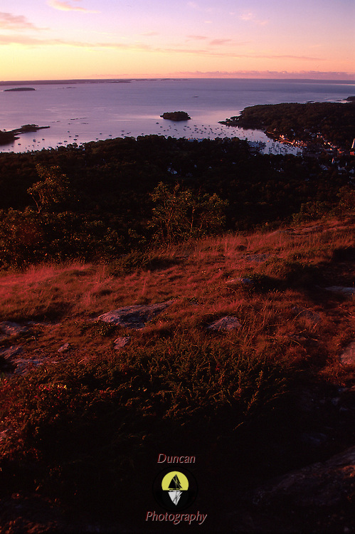 Camden Maine and Penobscot Bay from Mt. Battie. Dawn August, 2000. Photo by Roger S. Duncan.  ...