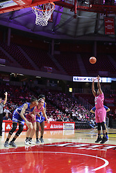 NORMAL, IL - February 10: Simone Goods at the charity stripe during a college women's basketball Play4Kay game between the ISU Redbirds and the Indiana State Sycamores on February 10 2019 at Redbird Arena in Normal, IL. (Photo by Alan Look)