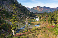 Goat Mountain and the lower Bagley Lakes area of the Mount Baker-Snoqualmie National Forest in Washington State, USA.