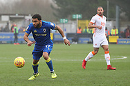 AFC Wimbledon striker Andy Barcham (17) dribbling during the EFL Sky Bet League 1 match between AFC Wimbledon and Blackpool at the Cherry Red Records Stadium, Kingston, England on 20 January 2018. Photo by Matthew Redman.
