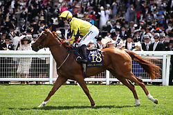 Shumookhi ridden by Jockey Edward Greatrex goes to post for the Queen Mary Stakes