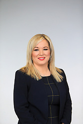 © Licensed to London News Pictures. 6/02/2016. Belfast, Northern Ireland, UK. Sinn Fein's leader in the North of Ireland Michelle O'Neill before the Launch of their Candicates for the forth coming elections in Northern Ireland. The fallout from the RHI scandal surrounding the scheme, which is approximately £490m over budget, resulted in the resignation of Sinn Fein's deputy first minister, Martin McGuinness, the collapse of Stormont's institutions and the calling of snap elections on 2 March.  Photo credit : Paul McErlane/LNP