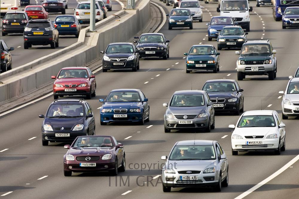 Traffic on four-lane M25 motorway, London, United Kingdom