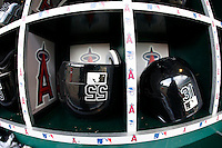 May 5, 2007:  White Sox  players helmets in the dugout as the Chicago White Sox played the Los Angeles Angels of Anaheim at Anaheim Stadium in Anaheim, CA. Molina and Sweeney..