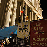 Sign up by the front steps to the cathedral. The London Stock Exchange was attempted occypied in solidarity with Occupy Wall in Street in New York and in protest againts the economic climate, blamed by many on the banks. Police managed to keep people away fro the Patornoster Sqaure and the Stcok Exchange and thousands of protestors stayid in St. Paul's Square, outside St Paul's Cathedral. Many camped getting ready to spend the night in the square.