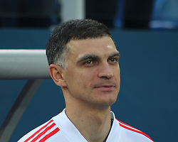 March 27, 2018 - Saint-Petersburg, Russia - Russian Federation. Saint-Petersburg. Arena Saint-Petersburg. Zenit-Arena. Football. Russia - France, Friendly match 1: 3. The football World Cup. The player of national team of Russia on football..Vladimir Gabulov; (Credit Image: © Russian Look via ZUMA Wire)