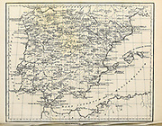 Hispania Antiqua Ancient, Historical map of Iberia Copperplate engraving From the Encyclopaedia Londinensis or, Universal dictionary of arts, sciences, and literature; Volume VIII;  Edited by Wilkes, John. Published in London in 1810.