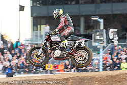 Jared Mees (number 1 plate) in the lead and about to win on his FTR750 Indian Scout at the American Flat Track TT at Daytona International Speedway during Daytona Bike Week. Daytona Beach, FL. USA. Thursday March 15, 2018. Photography ©2018 Michael Lichter.