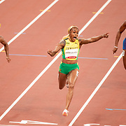 TOKYO, JAPAN - JULY 31:  Elaine Thompson-Herah of Jamaica wins the 100m final for women beating rival Shelly-Ann Fraser-Pryce of Jamaica during the Athletics competition at the Olympic Stadium  at the Tokyo 2020 Summer Olympic Games on July 31, 2021 in Tokyo, Japan. (Photo by Tim Clayton/Corbis via Getty Images)