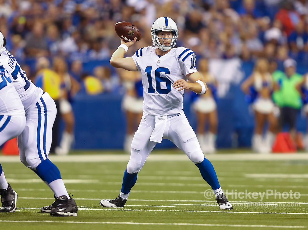 INDIANAPOLIS, IN - AUGUST 20: Scott Tolzien #16 of the Indianapolis Colts drops back to pass against the Baltimore Ravens at Lucas Oil Stadium on August 20, 2016 in Indianapolis, Indiana.  (Photo by Michael Hickey/Getty Images) *** Local Caption *** Scott Tolzien