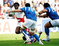 Photo: Richard Lane/Sportsbeat Images.<br />England v Samoa. Pool A, IRB Rugby World Cup, RWC 2007. 22/09/2007. <br />England's Paul Sackey attacks.