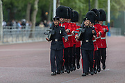 June 3, 2019 - London, England, GBR - United Kingdom honor guard during a ceremonial welcome day around the garden of Buckingham Palace in London, Monday, June 3, 2019 on the opening day of a three day state visit to Britain. (Credit Image: © Vedat Xhymshiti/ZUMA Wire)