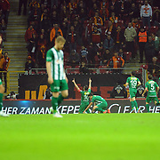 Bursaspor's Volkan Sen celebrate his goal with team mate during their Turkish Super League soccer match Galatasaray between Bursaspor at the AliSamiYen Spor Kompleksi TT Arena at Seyrantepe in Istanbul Turkey on Sunday, 01 February 2015. Photo by Batuhan AKICI/TURKPIX