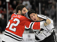 Los Angeles Kings center Jordan Nolan (R) and Chicago Blackhawks left wing Brandon Bollig fight during the second period at the United Center in Chicago on March 25, 2013.  (UPI)