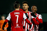 GOAL 0-1 Brentford forward Ollie Watkins (11) scores and celebrates during The FA Cup fourth round match between Barnet and Brentford at The Hive Stadium, London, England on 28 January 2019.