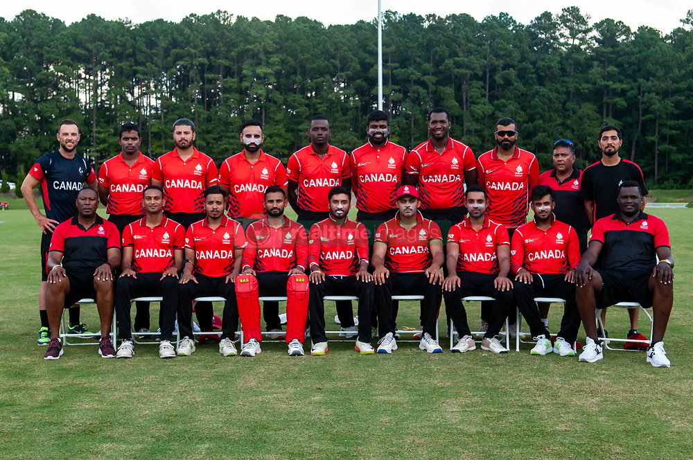 September 22, 2018 - Morrisville, North Carolina, US - Sept. 22, 2018 - Morrisville N.C., USA - Team Canada poses for a group photo during the ICC World T20 America's ''A'' Qualifier cricket match between USA and Canada. Both teams played to a 140/8 tie with Canada winning the Super Over for the overall win. In addition to USA and Canada, the ICC World T20 America's ''A'' Qualifier also features Belize and Panama in the six-day tournament that ends Sept. 26. (Credit Image: © Timothy L. Hale/ZUMA Wire)