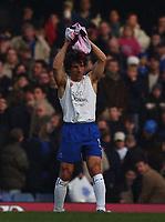Photo. Javier Garcia<br />22/02/2003 Chelsea v Blackburn, FA Barclaycard Premiership, Stamford Bridge<br />Despite the result Gianfranco Zola's t-shirt says it all