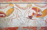 Lucanian fresco tomb painting of 2 warriors fighting, Paestrum, Andriuolo. 3rd Century  BC .<br /> <br /> If you prefer to buy from our ALAMY PHOTO LIBRARY  Collection visit : https://www.alamy.com/portfolio/paul-williams-funkystock - Scroll down and type - Paestum Fresco - into LOWER search box. {TIP - Refine search by adding a background colour as well}.<br /> <br /> Visit our ANCIENT GREEKS PHOTO COLLECTIONS for more photos to download or buy as wall art prints https://funkystock.photoshelter.com/gallery-collection/Ancient-Greeks-Art-Artefacts-Antiquities-Historic-Sites/C00004CnMmq_Xllw