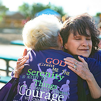 Breast cancer survivor Cynthia Vargas, right, is embraced  by her aunt Carmen Diaz following the survivor walk at Relay for Life Friday, June 21 at McKinley County Courthouse Square in Gallup.