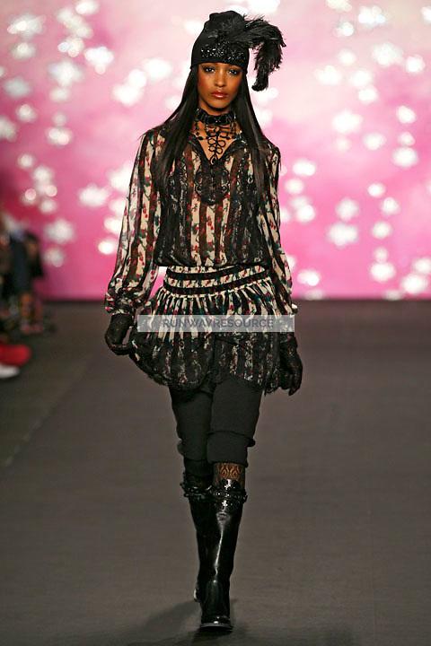 Jourdan Dunn walks the runway wearing Anna Sui Fall 2009 collection