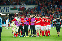 Football - 2017 / 2018 _Wales v Austria_FIFA World Cup Qualifier 2018<br /> <br /> Wayne Hennessey of Wales celebrates victory while Wales gather in a circle--- at Cardiff City Stadium.<br /> <br /> COLORSPORT/WINSTON BYNORTH