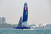 France SailGP Team's F50 is sailed for her second time in Sydney harbour ahead of the first SailGP regatta.
