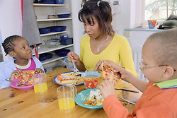 Single mother eating lunch at kitchen table with young daughter and son,