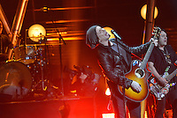 The Goo Goo Dolls performed at the St. George Theatre in Staten Island, NY, on Friday, January, 31, 2014. John Rzeznik (left) sings and plays guitar. At right is Robby Takac. / Russ DeSantis/AP Images for the NFL