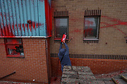 """Tamworth, United Kingdom, July 12, 2021: Activists from the """"Palestine Action"""" activist group scaled the roof, daubed blood-red paint and smashed the windows across the Elite KL site on Amington Industrial Estate in Tamworth early on Monday, July 12, 2021. The brand is part of the Elbit company, which describes itself as a """"multi-domestic defence and electronics supplier"""". (VX Photo/ Vudi Xhymshiti)"""