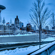 Kansas City Skyline from Kauffman Center at dusk after snowfall.