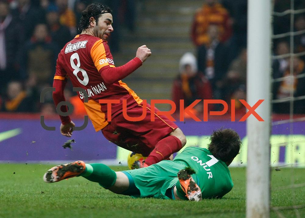 Galatasaray's Selcuk Inan (L) during their Turkish superleague soccer derby match Galatasaray between Trabzonspor at the AliSamiYen spor kompleksi TT Arena in Istanbul Turkey on Sunday, 22 December 2013. Photo by TURKPIX