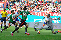 Atletico de Madrid´s Antoine Griezmann and Athletic Club´s goalkeeper Iago Herrerin, Xabier Etxeita and Unai Bustinza during 2014-15 La Liga match between Atletico de Madrid and Athletic Club at Vicente Calderon stadium in Madrid, Spain. May 02, 2015. (ALTERPHOTOS/Luis Fernandez)