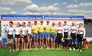 Poznan, POLAND,  Women's quadruple sculls medal left Silver USA W4X, centre UKR W4X and right bronze medal winners GER W4X  at the 2009 FISA World Rowing Championships. held on the Malta Rowing lake, Sunday  30/08/2009  [Mandatory Credit. Peter Spurrier/Intersport Images]