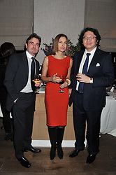 Left to right, ?, actress CAROLE BOUQUET and BRUNO WANG at a dinner hosted by Marlon & Nadya Abela at Cassis 232-236 Brompton Road, London to thank customers & friends for their custom held on 9th February 2012.