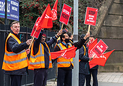 © Licensed to London News Pictures. 22/02/2021. London, UK. Bus drivers and members of Unite union demonstrate over pay outside Tolworth Station, South West London this morning. More than 2000 members of Unite union have gone on a 3 day strike from Monday 22 February 2021 over pay and conditions causing disruption to bus services in North, South and West London including parts of Surrey. Photo credit: Alex Lentati/LNP