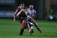 Ashton Hewitt of the Dragons is tackled by the Kings Michael Willemse and Andisa Ntsila. Guinness Pro14 rugby match, Dragons v Southern Kings at Rodney Parade in Newport, South Wales on Saturday 30th September 2017.<br /> pic by Andrew Orchard, Andrew Orchard sports photography.