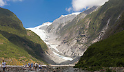 Panoramic view of the Franz Josef Glacier, West Coast, New Zealand