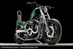 """""""Reckless Abandon"""", A Dyna front end hardtail, built from a 2003 Sportster, by Brad Gregory of Glenwood, IA. Photographed by Michael Lichter in Sturgis, SD on 8/11/2018. ©2018 Michael Lichter."""