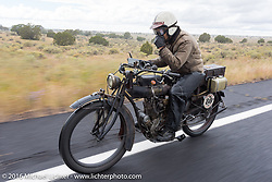 Yoshimasa Niimi of Japan riding his Team-80 Chabott Engineering 1915 Indian twin during the Motorcycle Cannonball Race of the Century. Stage-12 ride from Page, AZ to Williams, AZ. USA. Thursday September 22, 2016. Photography ©2016 Michael Lichter.