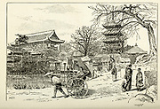 Asakusa Buddhist Temple, Tokio [Tokyo, Japan] from the book ' Rambles in Japan : the land of the rising sun ' by Tristram, H. B. (Henry Baker), 1822-1906. Publication date 1895. Publisher New York : Revell