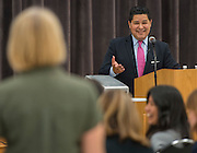 Houston ISD Superintendent Richard Carranza meets with staff and families on the first stop of his Listen & Learn Tour of the district at Gregory-Lincoln Education Center, September 14, 2016.